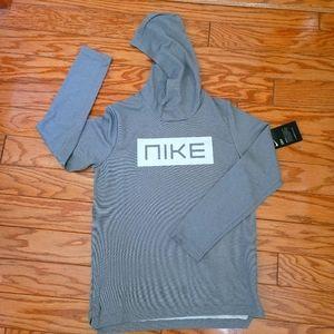 Nike Boys Dri Fit  Gray White Hoodie Shirt